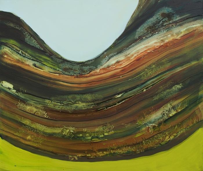Kolmas ylitys, 2018, oil on panel, 42x50cm